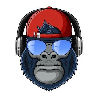 Gorilas de mascote legal com ilustração de chapéu, óculos e fone de ouvido