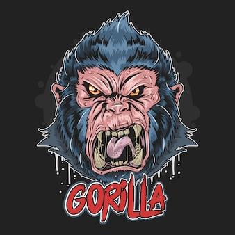 Gorilla angry face artwork