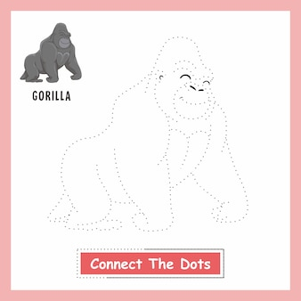 Gorilla animals drawing connect the dots