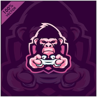 Gorilla gamer segurando o console de videogame joystick. design de logotipo mascote para a equipe esport.