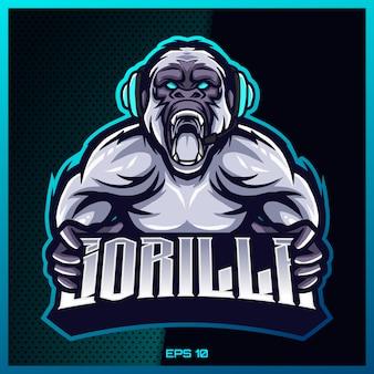 Gorilla king kong esport e esporte mascote logotipo design com conceito moderno de ilustração para impressão de equipe, crachá, emblema e sede. ilustração de gorila em fundo azul escuro. ilustração