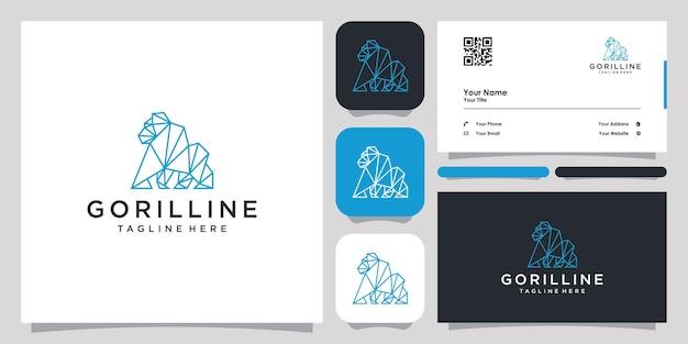 Gorilla line logotipo ícone símbolo modelo logotipo e cartão de visita