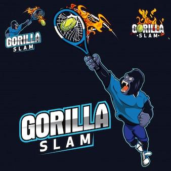 Gorilla Sport Mascot Personagem Tênis
