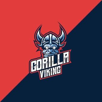 Gorilla viking esport e logotipo esportivo