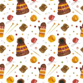 Gorros e luvas de tricô aquarela padrão sem costura papel digital de crochê