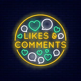Gosta e comentários banner de néon colorido na parede de tijolo