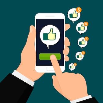 Gostar. conceito de redes sociais. ilustração vetorial, design plano.