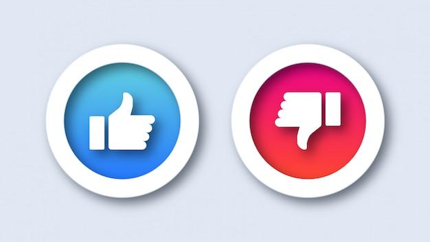 Gostar e não gostar de ícones