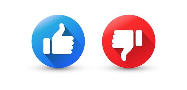 Gostar e não gostar. ícones de polegar para cima e polegar para baixo.