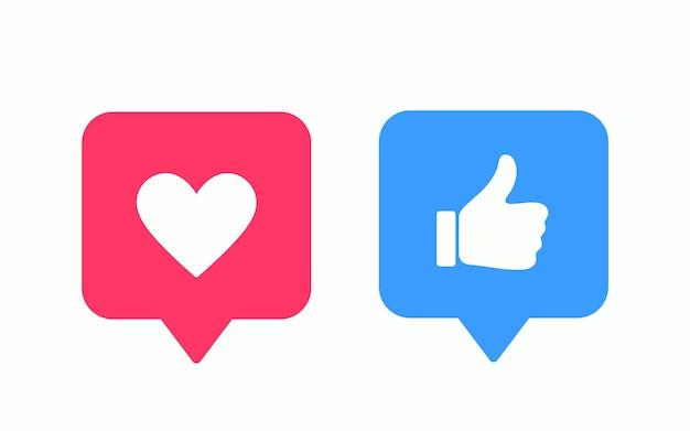 Gosto ou polegar para cima e ícones modernos do vetor do coração. elementos de design para rede social, marketing, smm, app, interface e anúncio.