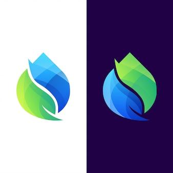 Gota água folha logotipo conjunto