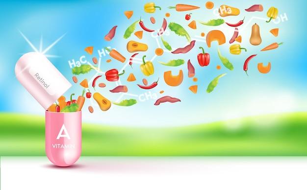 Gota água vitamina a rosa e estrutura complexo de vitaminas com fórmula química da natureza
