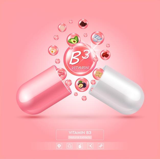 Gota água vitamina b3 rosa e estrutura complexo de vitaminas com fórmula química da natureza