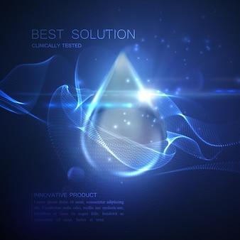 Gota azul brilhante com partículas em forma de onda