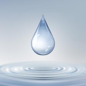 Gota azul brilhante limpa de vetor com círculos na água, vista frontal