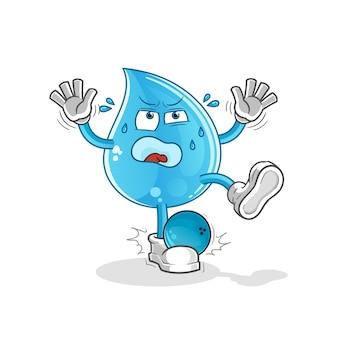 Gota d'água atingida por desenho animado de boliche
