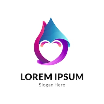 Gota d'água com conceito de logotipo de coração