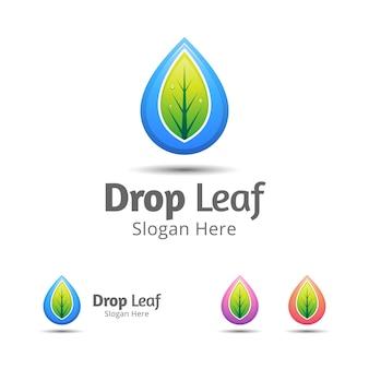 Gota d'água com modelo de design de logotipo de folha