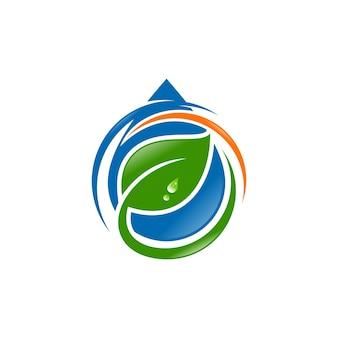 Gota d'água com vetor de logotipo de folha