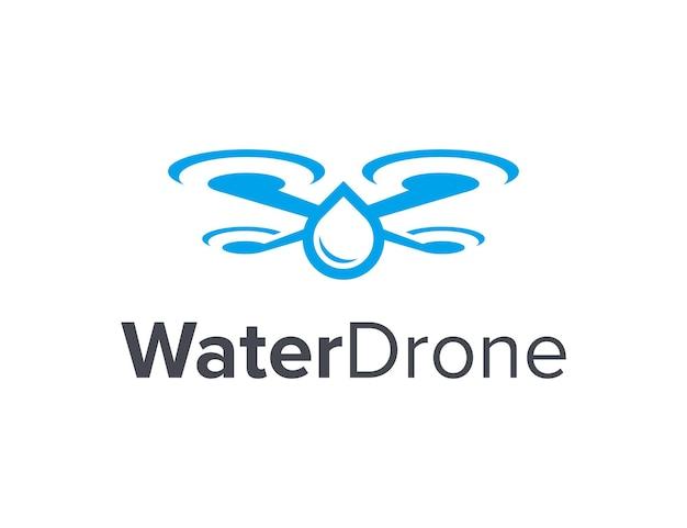 Gota d'água e drone simples, elegante, criativo, geométrico, moderno, logotipo, design