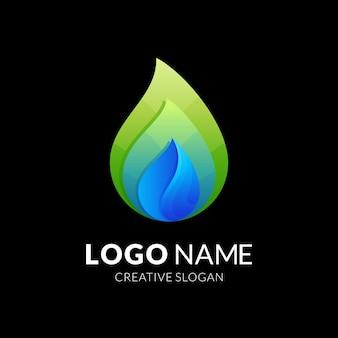 Gota d'água e folha, combinação de logotipo com estilo colorido