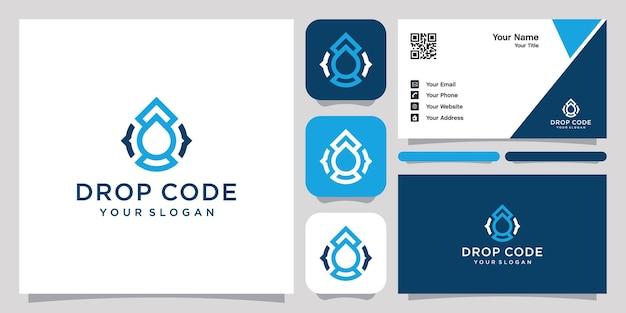 Gota d'água e logotipo abstrato de código e cartão de visita
