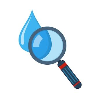 Gota d'água e lupa em design plano