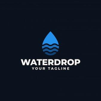 Gota de água abstrata simples com modelo de logotipo de onda