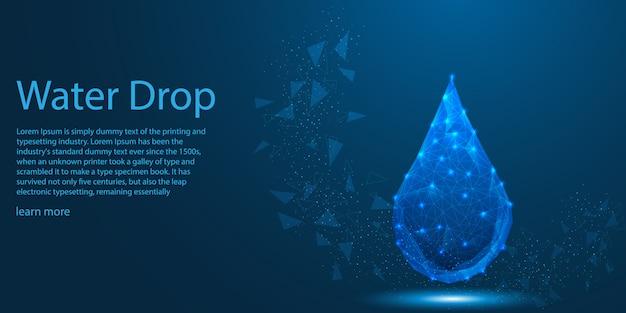Gota de água baixo poli eco conceito do tema.