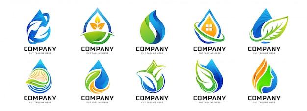Gota de água colorida criativa coleção de modelo de logotipo