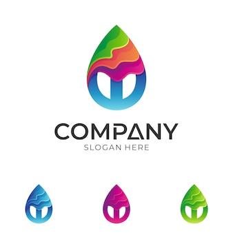 Gota de água colorida + logotipo da letra w