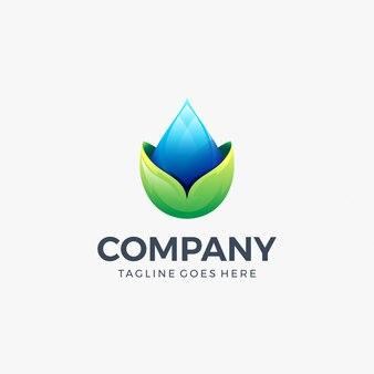 Gota de água deixa ícone modelo de design de logotipo