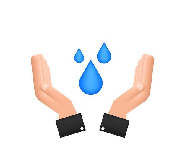 Gota de água desenhada de mão nas mãos para o projeto do banner. planeta terra. economize água da terra.