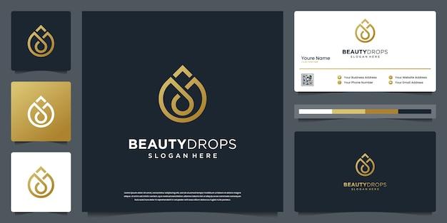 Gota de água dourada e modelo de logotipo de luxo de azeite e design de cartão de visita