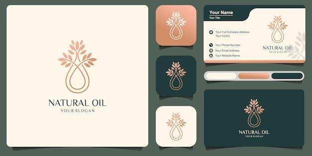 Gota de água dourada ou logotipo de azeite e design de cartão de visita. ilustração do modelo de logotipo