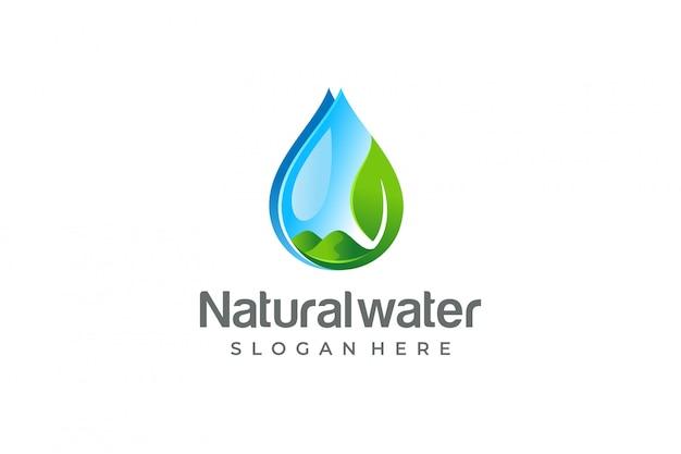 Gota de água e folha, logotipo eco