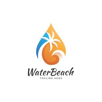 Gota de água e logotipo de palmeira de onda