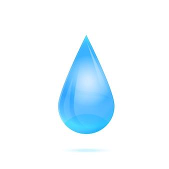 Gota de água isolada no branco