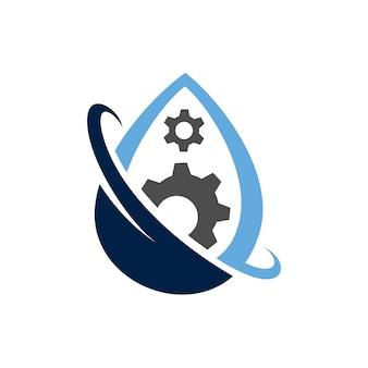 Gota de água + logotipo da engrenagem
