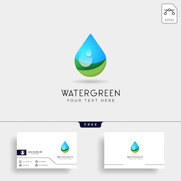 Gota de água ou ilustração em vetor modelo logotipo verde água
