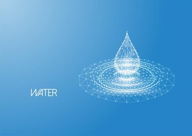 Gota de água poligonal baixa brilhante futurista com ondulações de respingo feitas de linhas, pontos, partículas de luz isoladas sobre fundo azul. design moderno de malha de armação de arame.