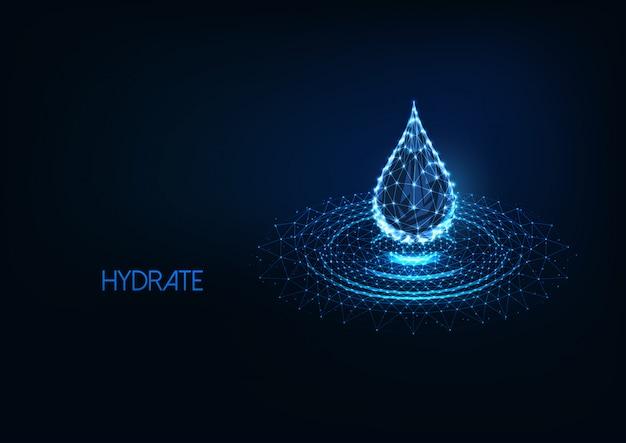 Gota de água poligonal brilhante futurista baixa com ondulações de respingo isoladas em azul escuro
