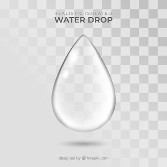 Gota de água sem fundo em estilo realista