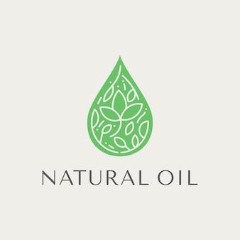 Gota de ervas bonita para logotipos de cuidados da pele