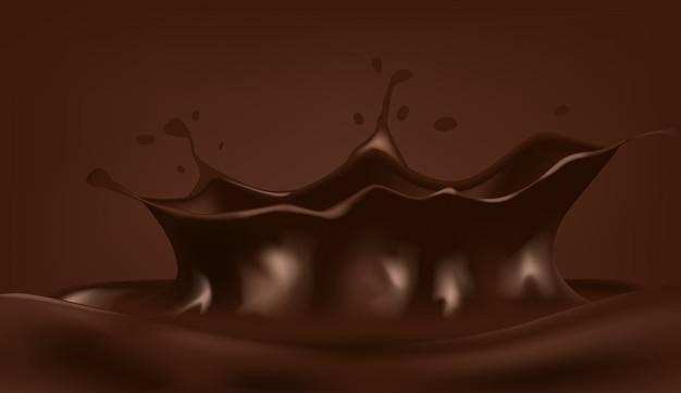 Gota de leite com chocolate com pequena onda espirrando