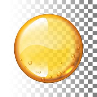 Gota de mel realista em fundo transparente