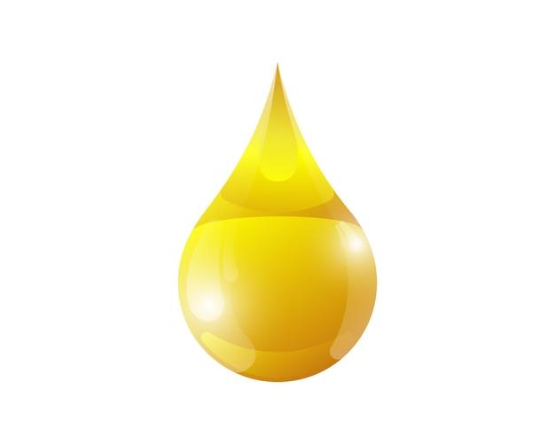 Gota de óleo brilhante ouro líquido d mel ou ilustração vetorial de gota de petróleo e industrial isolada