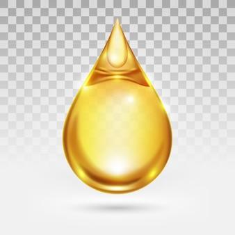 Gota de óleo ou mel isolado no fundo branco de transparência, líquido transparente amarelo dourado,
