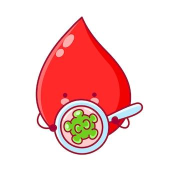 Gota de sangue engraçada feliz fofa olhar para bactérias na lupa. ilustração de personagem kawaii dos desenhos animados de linha plana. isolado em fundo branco