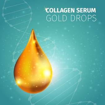 Gota dourada de solução de colágeno com ilustração vetorial de dna